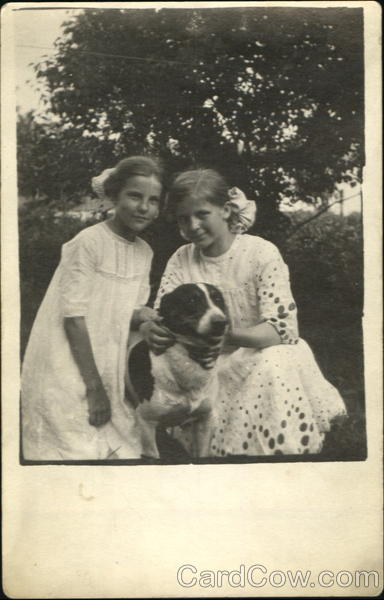 Two girls and a dog Children