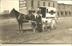 Man with horse and small delivery wagon