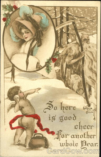 Cupid Throwing Snowball at Father Time Angels & Cherubs