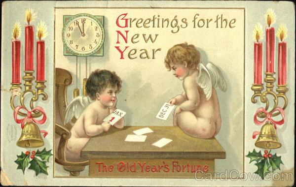 Greetings For The New Year The Old Year's Fortune Angels & Cherubs