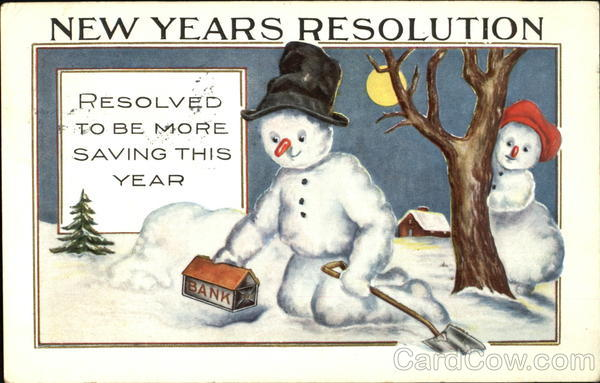 New Years Resolution Old Postcard