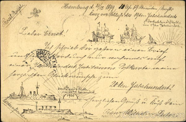 1899-1900 New Year, Germany Navy New Year's Hand Drawn