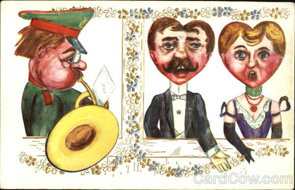 A Man Playing a Horn for a Couple Hearts