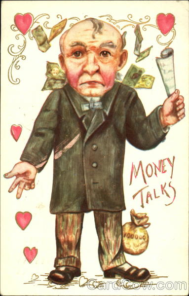 Money Talks Antique Postcard