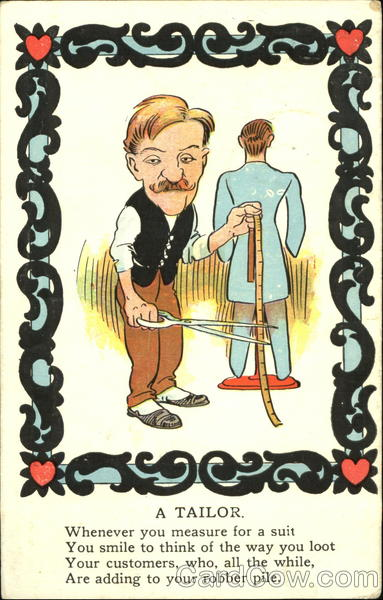 A Tailor Caricatures