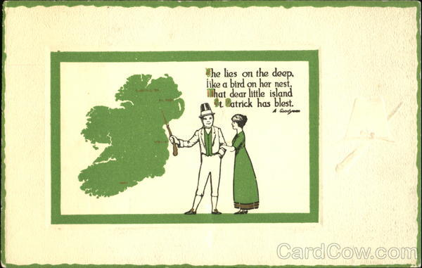 A Man Wearing a Hat and a Lady in a Green Dress St. Patrick's Day
