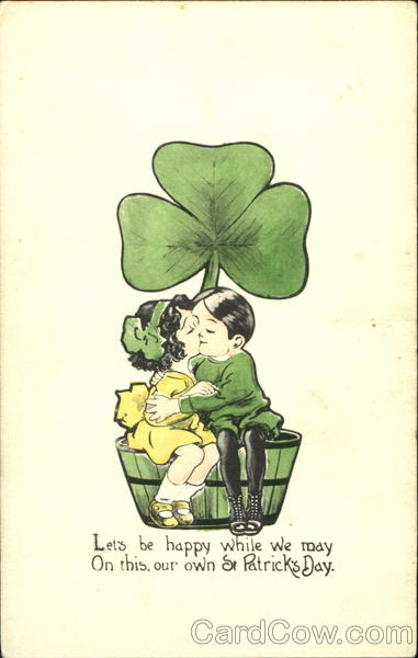 Irish Boy and Girl Kissing St. Patrick's Day