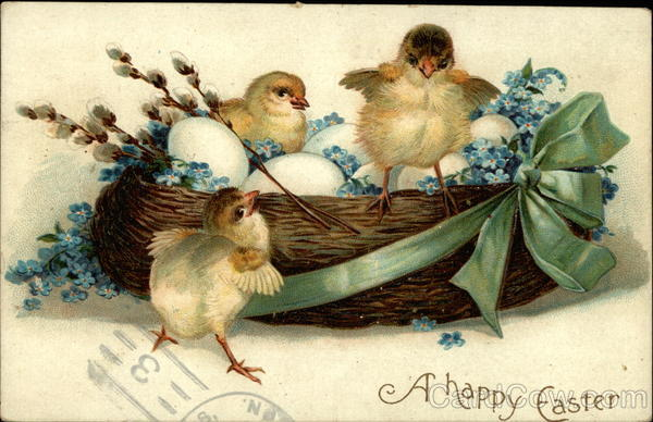 A basket of eggs and chicks With Chicks