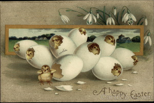 A Happy Easter: Eggs with Chicks