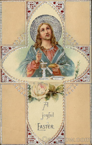 A Joyful Easter - Jesus and a Lacy Cross With Jesus Christ