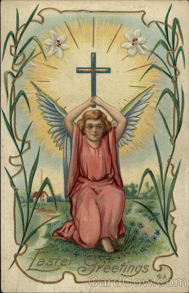 Easter Greetings - Angel with a Cross and Lily Motif Postcard