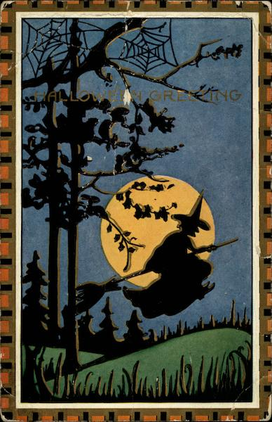 Halloween Greetings, Silhouette of witch on broom in front of moon