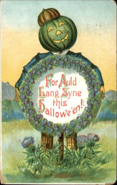 For Auld Lang Syne this Halloween! Vintage Postcard