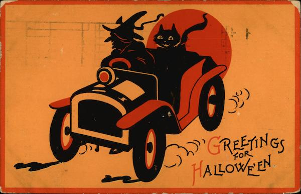 Witch & Cat in Car Halloween