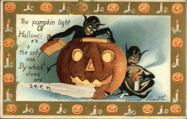 The pumpkin light of Halloween's the only one by which elves are seen