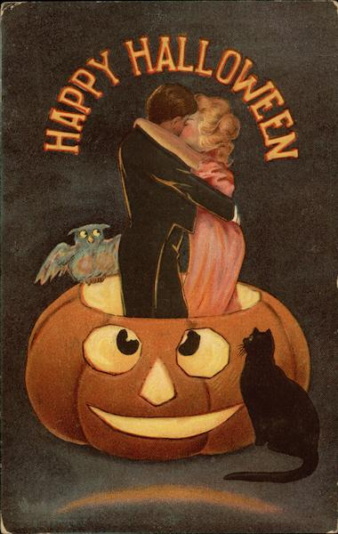 Happy Halloween: Couple Kissing in a Pumpkin