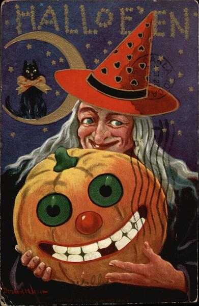 Halloween Greetings with Witch in Red Hat Bernhardt Wall