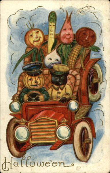Halloween: Vegetables Driving a Car