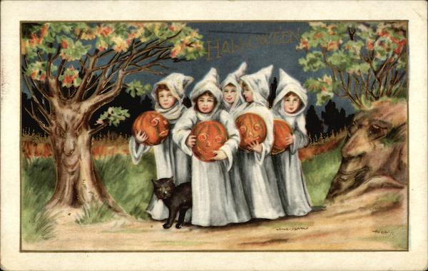 Children in White Robes Carrying Jack-o-Lanterns Halloween