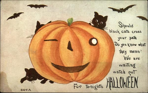Halloween Greeting with Pumpkin and Black Cats