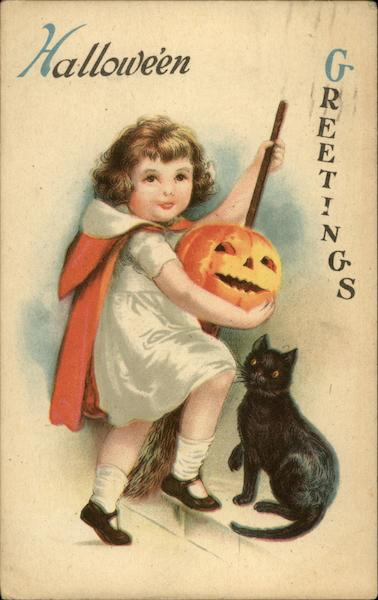 Halloween Greetings - Young Girl with Cat and Jack O'Lantern
