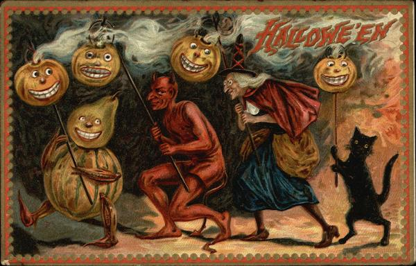 Halloween: Pumpkins, Witch, Devil, and Black Cat