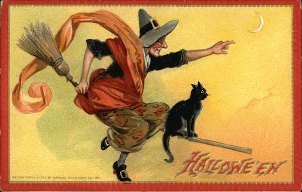 Halloween - Witch on Broom with Black Cat Frances Brundage