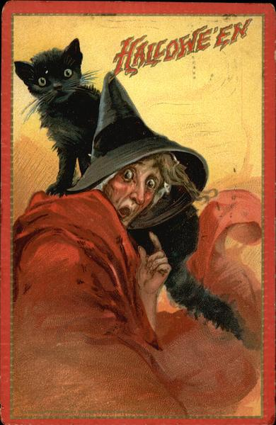 Halloween Witch with Black Cat Frances Brundage