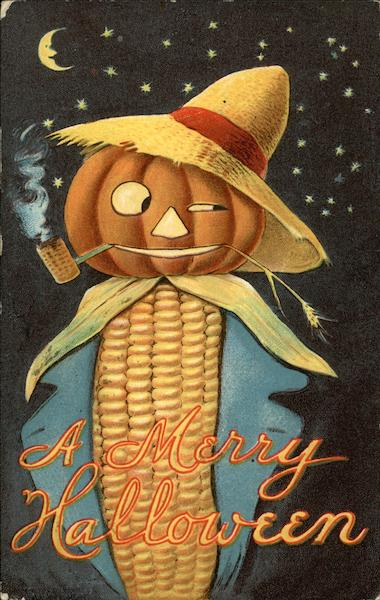 A Merry Halloween - Pumpkin and Corncob Scarecrow