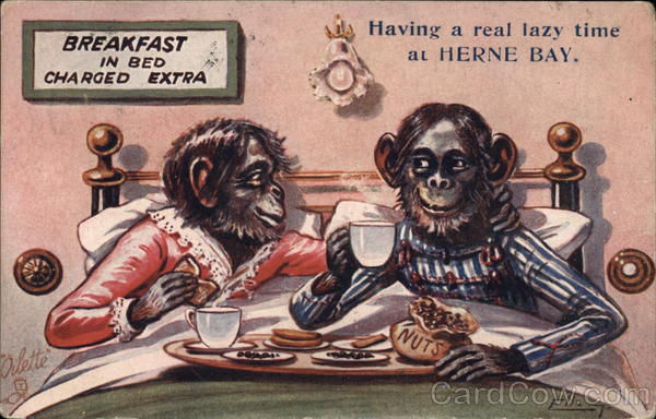 Breakfast In Bed - Herne Bay William Henry Ellam Apes