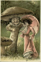 Woman with Pink Parasol Meets Motherly Mushroom