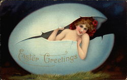 Easter Greetings - Woman in an Eggshell