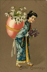Easter Greetings - Woman in Japanese Attire