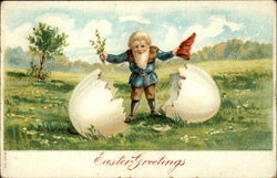 Easter Greetings - Gnome Hatching Out of an Egg