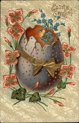 Easter Greeting - Egg with Flowers