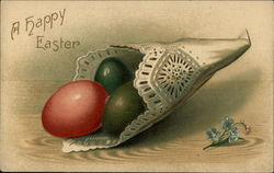 A Happy Easter - Colored Eggs Wrapped in a Doily