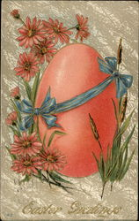 Easter Greetings - Egg wrapped with Blue Ribbon