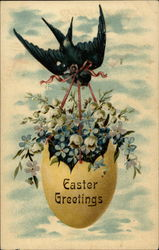 Easter Greeting with Egg holding Flowers