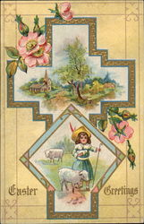 Easter Greeting: Little Girl with Lambs and Cross