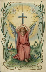 Easter Greetings - Angel with a Cross and Lily Motif