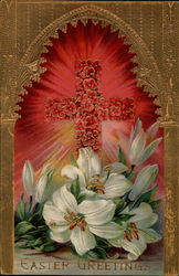 Easter Greetings - Cross and Lilies