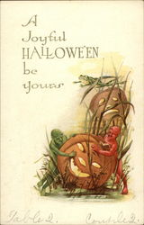 A Joyful Halloween Be Yours - Devils and Jack O'Lanterns
