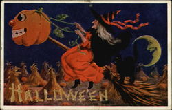 Halloween with Witch riding a Pumpkin Broomstick
