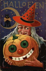 Halloween Greetings with Witch in Red Hat