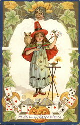 Little Girl Witch Performing Magic Tricks