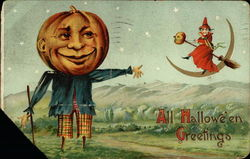 Pumpkin Scarecrow & Witch on Moon