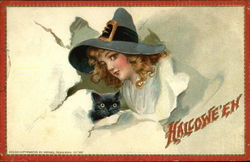 Halloween - Witch with Black Cat Postcard