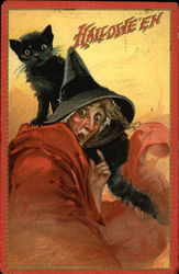 Halloween Witch with Black Cat Postcard