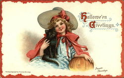 Halloween Greetings - Girl with Cat and Pumpkin