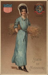 State of Missouri with Woman in Blue Dress